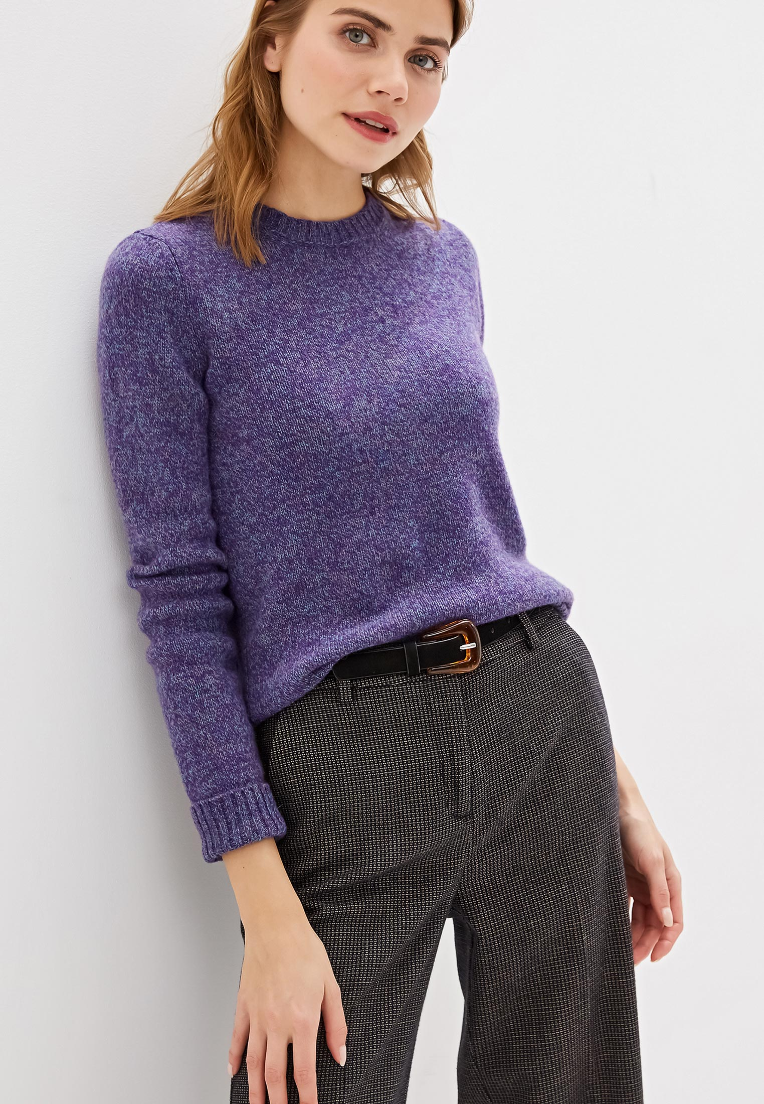 Джемпер, United Colors of Benetton, цвет: фиолетовый. Артикул: UN012EWFVAJ6. Одежда / Джемперы, свитеры и кардиганы