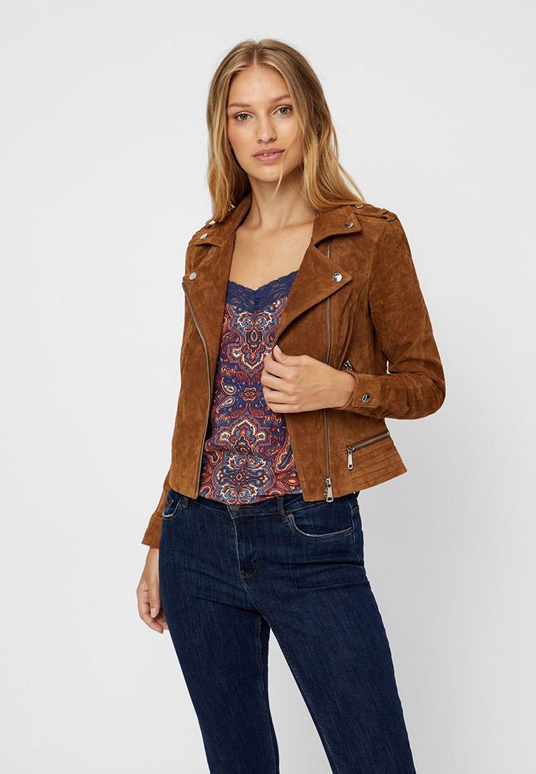 Куртка кожаная, Vero Moda, цвет: коричневый. Артикул: VE389EWFIMX9. Одежда / Верхняя одежда / Косухи