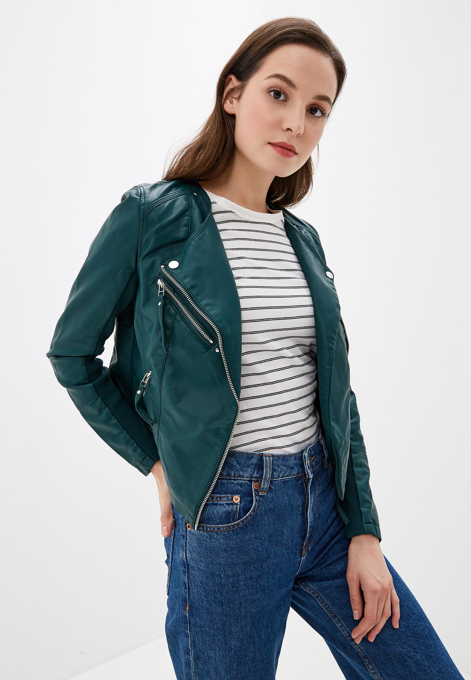 Куртка кожаная, Vero Moda, цвет: зеленый. Артикул: VE389EWFIMZ9. Одежда / Верхняя одежда / Косухи